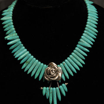 Southwestern Style Sterling Silver Graduated Point Bullet Turquoise Bib Necklace with Rose Pendant Southwest Inspired Handmade Jewelry