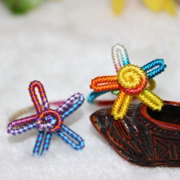 Pure handmade coloured thread ring five-pointed star colorful ring