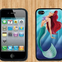 Ariel Little Mermaid iPhone Case - Rubber Silicone iPhone 4 Case or Plastic iPhone 5 Case - Free Screen Protector Included