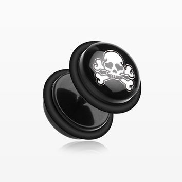 A Pair of Pirate Skull Acrylic Faux Gauge Plug Earring
