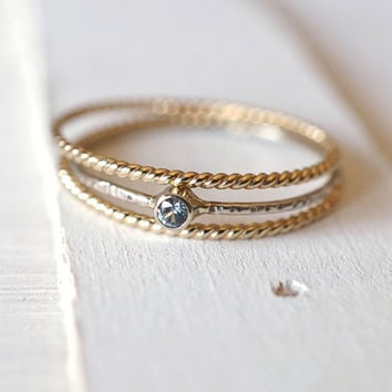 Moissanite Ring, Ring Set, Stacking Ring, 14k Gold Ring, Yellow Gold Ring, Bridal Jewelry, Engagement Ring, Alternative Ring, Rope Ring Set