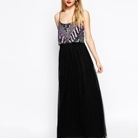 ASOS Embellished Crop Top Maxi Dress