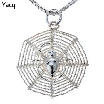 Yacq 925 Sterling Silver Spider & Web Necklace Pendant W Chain Halloween Party Jewelry Gifts Women Girls Her Dropshipping CN16