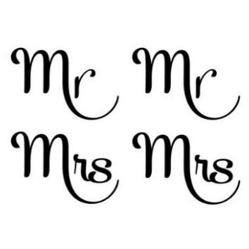 Mr Mrs Temporary Tattoo Set