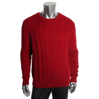 Tommy Hilfiger Mens Cable Knit Crew Neck Pullover Sweater