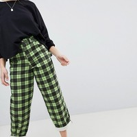 ASOS Carpenter Boyfriend Jeans in Green Check Print at asos.com