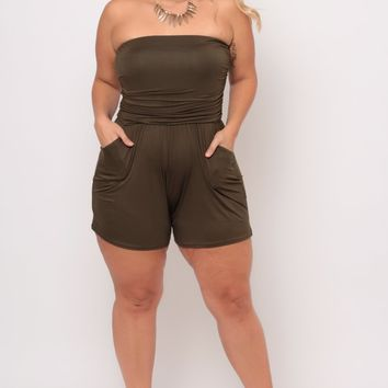 Plus Size Stacey Romper - Olive