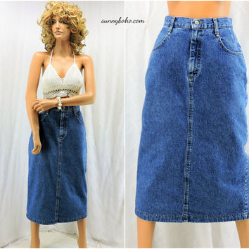 80s denim skirt size 7 / 8 retro 1980s Lee high waisted long jean skirt boho hippie high waist long denim skirt SunnyBohoVintage