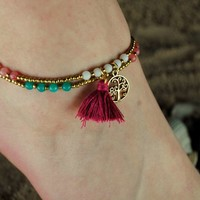 Tree of Life Tassel Anklet Ankle Bracelet Pastel Beads on Gold Double Chain