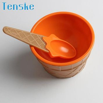 Tenske TOP Grand Design Ice Cream Bowl With A Spoon For Kids Boys Girls Cute Lovely A Set Of Ice Cream Tool For Gfit
