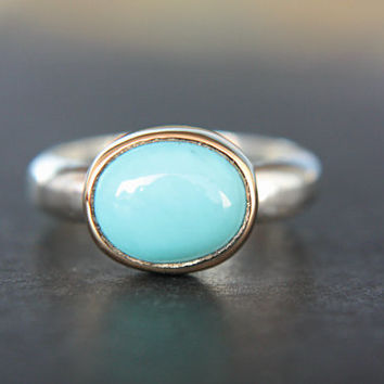 Turquoise Ring 18k Yellow Gold Sterling Silver Sleeping Beauty Turquoise Engagement Ring Size 5,5-6,5 Silversmith Goldsmith