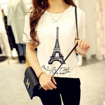 CPI EIFFEL TOWER PARIS Letters Print Women Tshirt Cotton Casual Funny t Shirt For Girl Top Tee Hipster Tumblr Drop Ship
