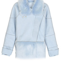 Blue Fox Fur Collar Zippered Detail Wool Coat