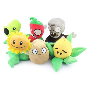 Retail 1 Piece 13-25cm Plant vs Zombies Plush Dolls Toys Gifts for Children Kids Free Shipping