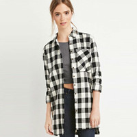 2017 Trending Fashion Women Long Sleeve Plaid Button Shirt Blouse _ 12036