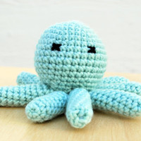 Dead Octopus Amigurumi - Small handmade crocheted figurine - Light turquoise