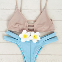 CUTE HOLLOW BLUE TWO PIECE BIKINI