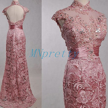 Unique Flesh Pink Keyhole Back Lace Prom Dresses,Long Mermaid High Neck Prom Dresses.Lace Evening Dresses,Homecoming Dresses,Party Dresses