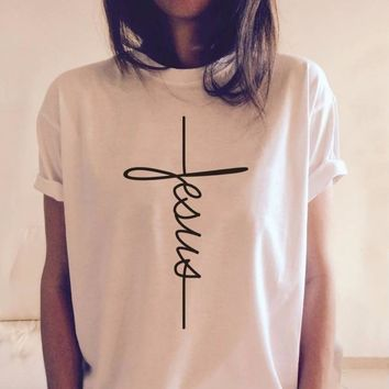 Jesus cross letter print t-shirt women fashion grunge tumblr tees Christian summer cotton pray faith tops aesthetic art t shirt