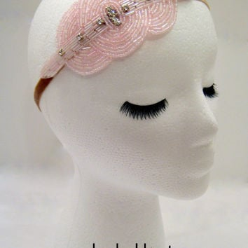 The Viola - pink Great Gatsby style headband, 1920s headdress, roaring 20s flapper costume, pink 1920s accessories, speakeasy bar