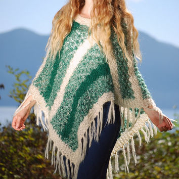 70s Wool Knit Poncho, Striped Cream + Green Hippie Fringed Boho Poncho, Hand Knit Sweater Made In ITALY, Fall Winter Mohair Wool Cape Shawl