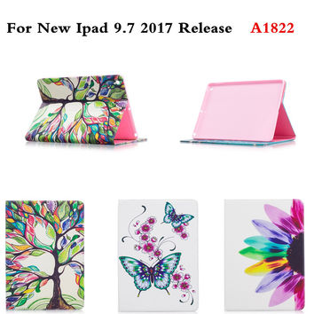 For Apple New iPad 9.7 inch 2017 Release A1822 Tablet PC Cute Pattern PU Leather Case With Card Slots Soft tpu back Folio Cover