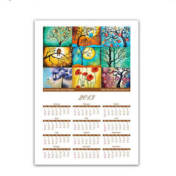 SALE 15% Off - 2013 Wall Calendar Whimsical Large Giclee Art Print Signed 13x18