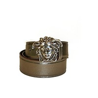 Versace Belt Bronze/Brown Leather with Silver Medusa Logo 90cm (36 inches)