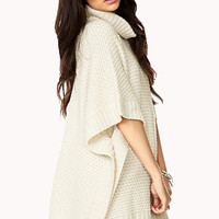 Textured Knit Sweater Cape
