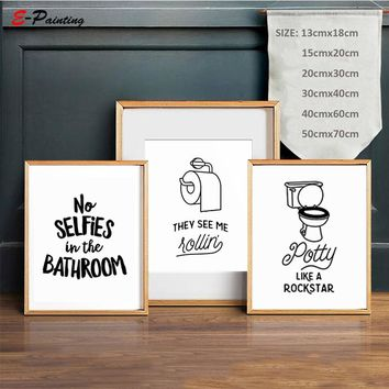 Letter Quote Art Poster No Selfies In The Bathroom PRINTABLE Sign Wall Art Canvas Painting Kids Home Decor Poster Picture