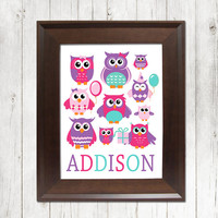 GIRL OWLS Wall Art Nursery Cute Owl Artwork Child Name Custom Personalized Birthday Party Whimsical Single Print Decor Baby Shower Gift