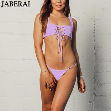 JABERAI Ribbed Bikini Women Bandeau Bikini Set Bandage Swimwear Female Swimsuit Bathing Suit Thong Bottom Brazilian Biquini