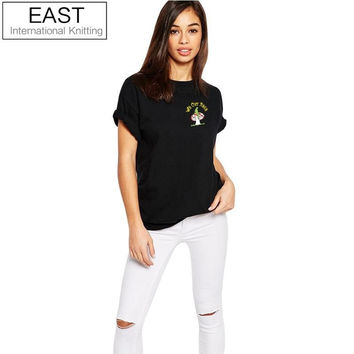 EAST KNITTING H556 NEW DESIGN WOMEN BLACK PUNK RIP T SHIRT WE OUT HERE WITH ALIEN PRINT FUNNY TEES PLUS SIZE GIRL T-SHIRT