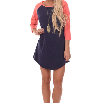 Navy Baseball Tunic Top with Coral Sleeves