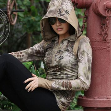 Chiefs Women Camo Long Sleeve Hoody Tactical Shirt Lady Quick Drying Python Hood Elastic Sexy Hunting Sportwear Camouflage Tees