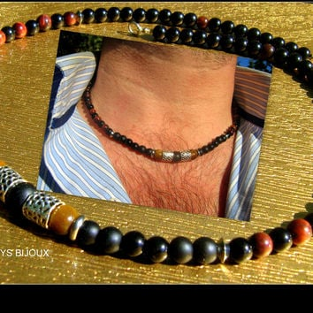 Men Gems Beads NECKLACE, Tiger eye, black Onytax gems, Mala surfer boho Healing, protection, SUCCESS necklace, stainless steel, tiben silver