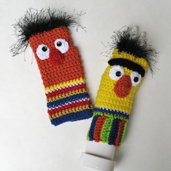 Sesame Street BERT AND ERNIE Wristwarmers, Ready to Ship