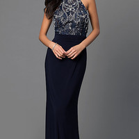 Racerback Navy Blue Floor Length Dave and Johnny Dress