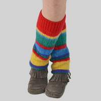 Grunge Leg Warmers in Bright Stripe Rainbow - Red Yellow Green Blue Purple - Upcycled Wool Sweater - OOAK