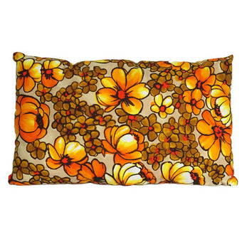 Retro Floral Lumbar Pillow / Vintage Cushion / Mid Century Modern Flower Power Home Decor / Toss Pillow / Insert Included / Spring, Summer