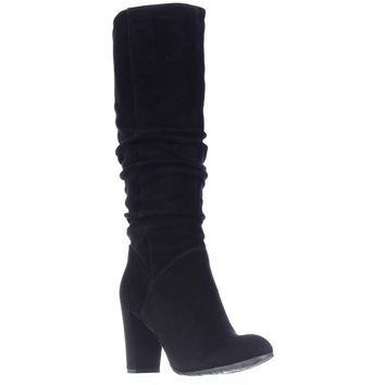Nine West Shiryl Tall Slouch Pull On Boots, Black Suede, 10.5 US