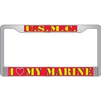 US Armed Forces Military Metal License Plate Frame - United States Marine Corps USMC I Love (Heart) My Marine