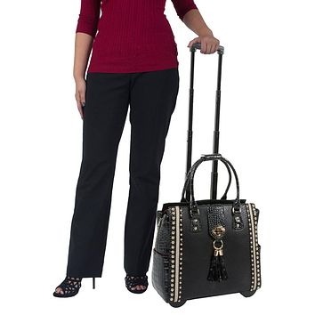 """MIDNIGHT MANHATTAN"" Black Python Rolling iPad, Tablet or Laptop Carryall Bag"