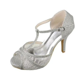 [48.44] Glamorous Sequins & Lace Upper Peep Toe Stiletto Heels Bridal Shoes - dressilyme.com