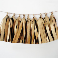 Tissue tassel antique metallic gold tissue paper tassel // birthday // wedding // shower