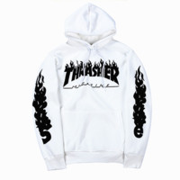 Thrasher Fashion Long-Sleeved Letters Hooded Sweater