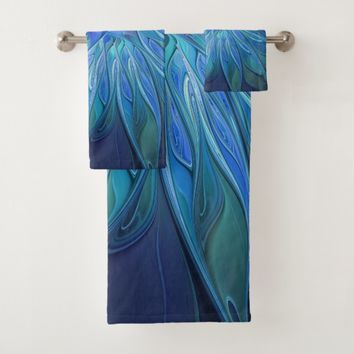 Blue Flower Fantasy Pattern, Abstract Fractal Art Bath Towel Set