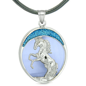 Courage Horse Wild Moon Mustang Magic Protection Powers Amulet Simulated Blue Cats Eye Leather Necklace