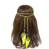 Feather Headdress, Indian Headpiece, Feather Headband, American Indian Jewelry, Feather Hair, Hippie, Boho, Yellow