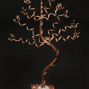 Jewelry Storage, Jewelry Tree Holder, Great For Necklaces, Bracelets And Earrings. Medium Bronze Tree On Bronze Base.